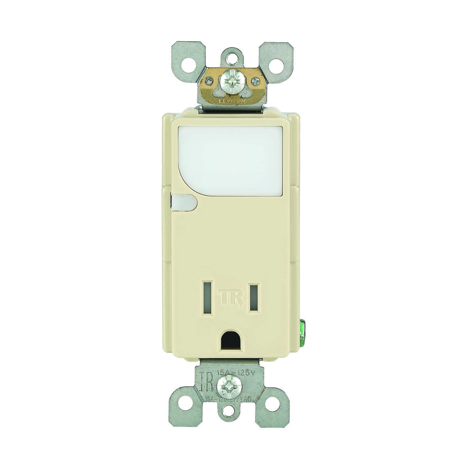 Leviton  Decora  15 amps 125 volt Ivory  Outlet/Guide Light  5-15R