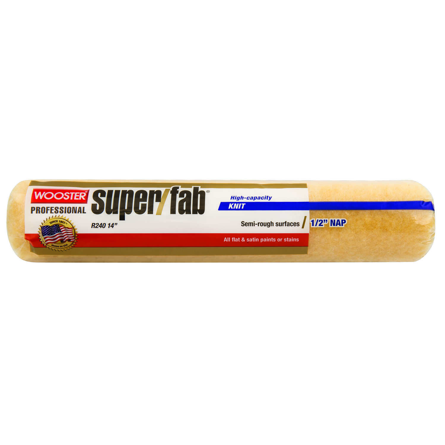 Wooster  Super/Fab  Knit  1/2 in.  x 14 in. W Regular  Paint Roller Cover  For Semi-Rough Surfaces 1