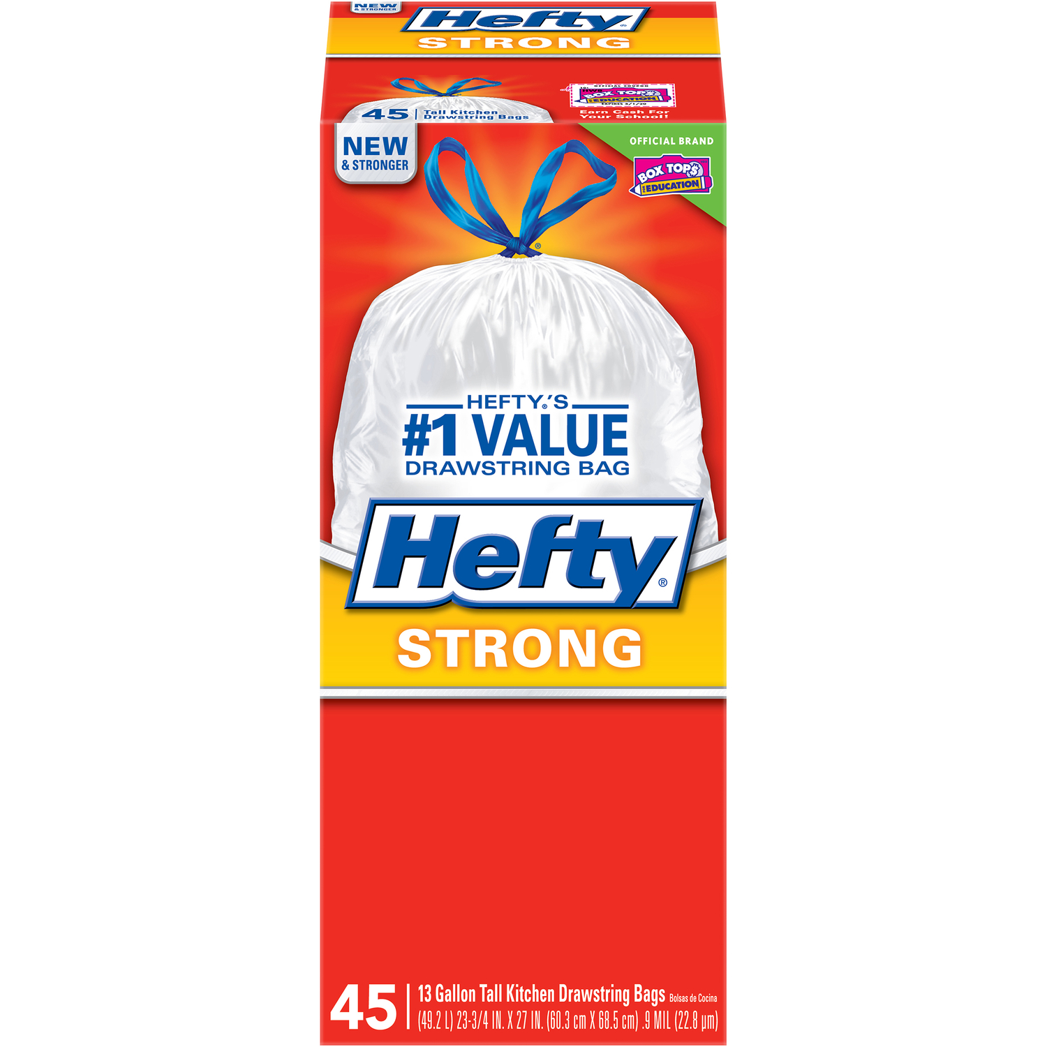 Hefty  Strong  13 gal. Kitchen Trash Bags  Drawstring  45 pk