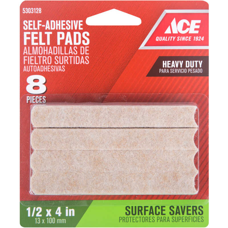 Ace  Felt  Self Adhesive Pad  Rectangle  1/2 in. W x 4 in. L 8 pk Self Adhesive Brown