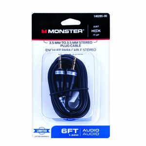 Monster Cable  Just Hook It Up  6 ft. L Stereo Plug Cable  Audio