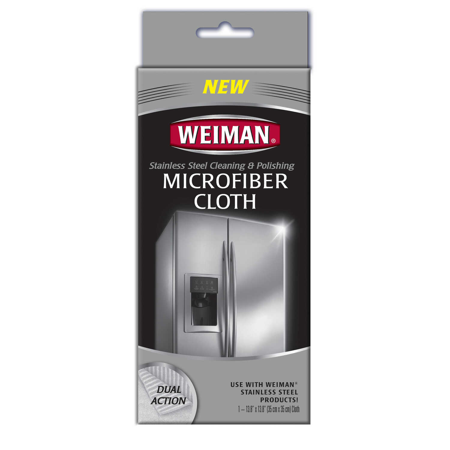 Weiman  Microfiber  Stainless Steel Cleaning and Polishing Cloth  13.8 in. W x 13.8 in. L 1 pk