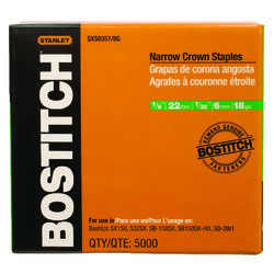 Bostitch  7/32 in. W x 7/8 in. L 18 Ga. Narrow Crown  Caps and Staples  5000 pk