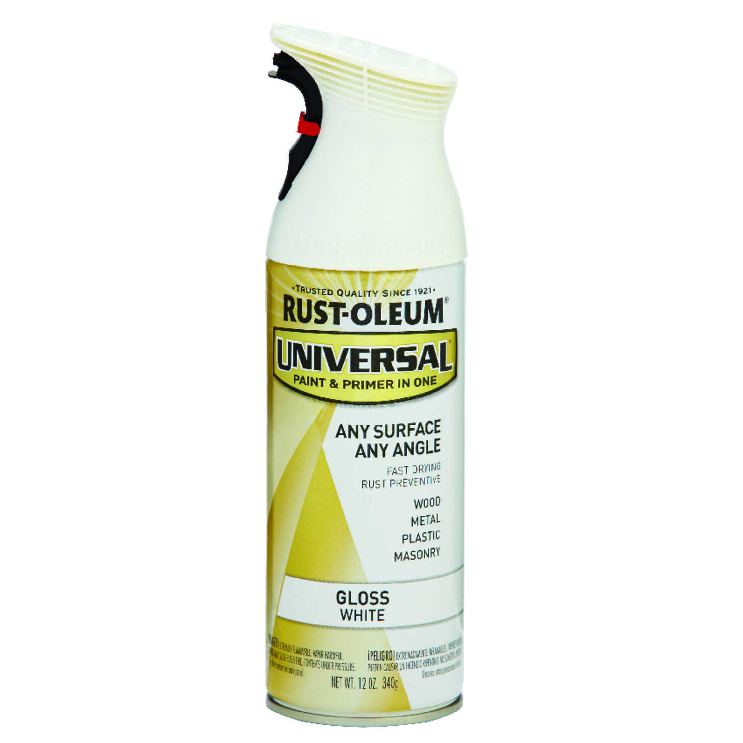 Rust-Oleum  Universal Paint & Primer in One  Gloss  White  Spray Paint  12 oz.