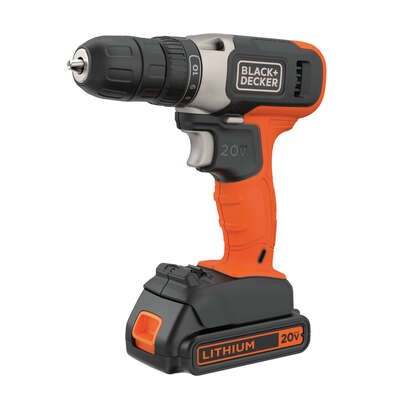 Black and Decker  20 volt Brushed  Cordless Compact Drill/Driver  Kit  3/8 in. 600 rpm