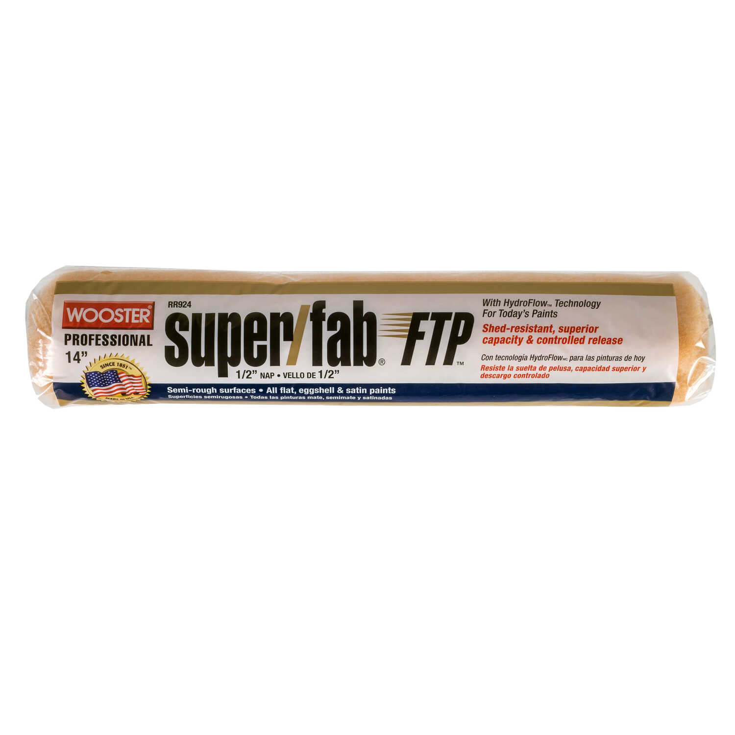 Wooster  Super/Fab FTP  Synthetic Blend  1/2 in.  x 14 in. W Paint Roller Cover  For Semi-Rough Surf