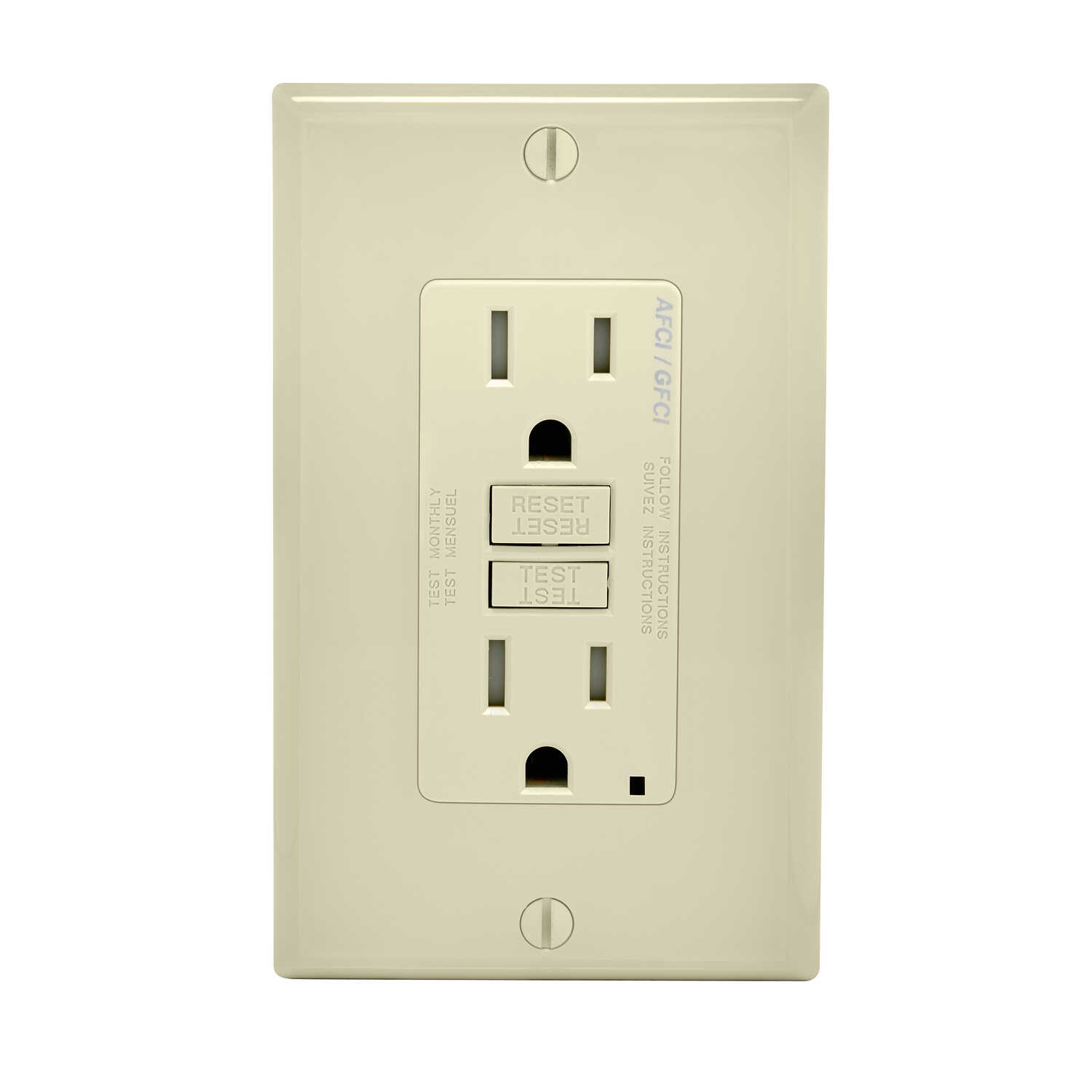 Leviton  Decora  15 amps 125 volt Light Almond  AFCI/GFCI Dual Function Outlet  5-15R  1 pk