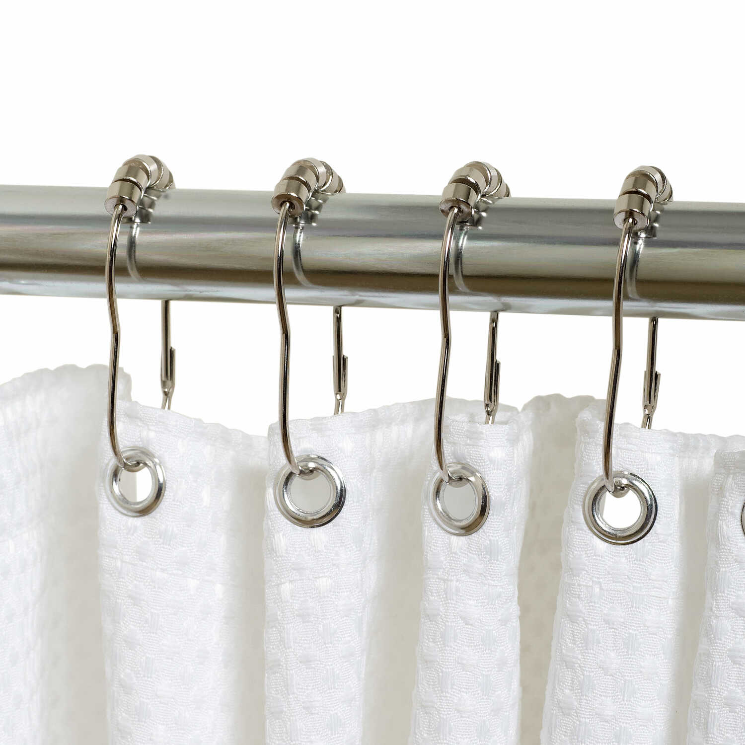 Zenna Home  Chrome  Roller  Shower Curtain Rings  12 pk Metal