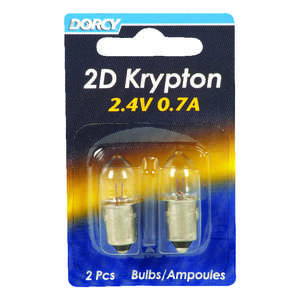 Dorcy  2D  Krypton  2D  Flashlight Bulb  2.4 volts Bayonet Base