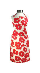 Mu Kitchen  Red  Cotton  Poppy  Bibb Apron