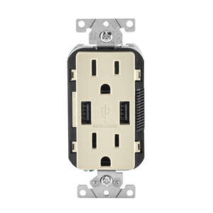 Leviton  Decora  15 amps 125 volt Light Almond  Outlet and USB Charger  5-15 R  1 pk