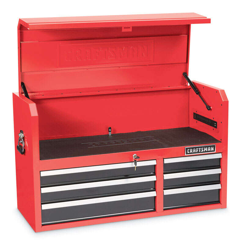 Craftsman  41 in. 6 drawer Metal  Top Tool Chest  24-1/2 in. H x 16 in. D Red/Black