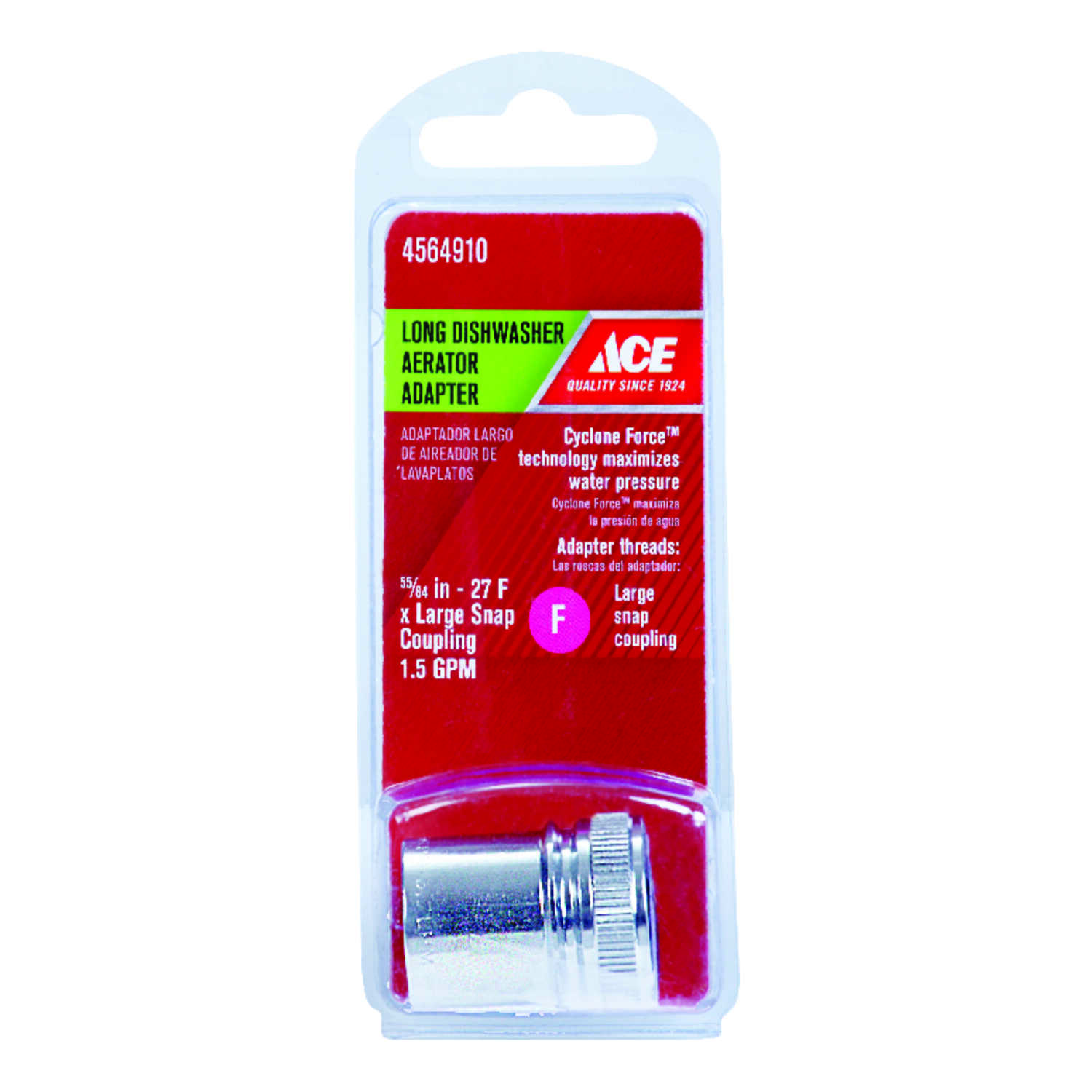 ACE  Aerator Adapter  0 in.  x 55/64 in.  Chrome