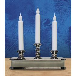 Celebrations  Polished Nickel  No Scent Auto Sensor  Candle  10 in. H