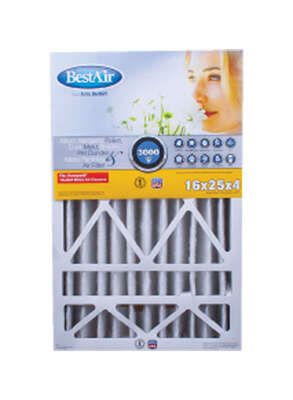 BestAir 25 in. W x 16 in. H x 4 in. D 13 MERV Pleated Air Filter