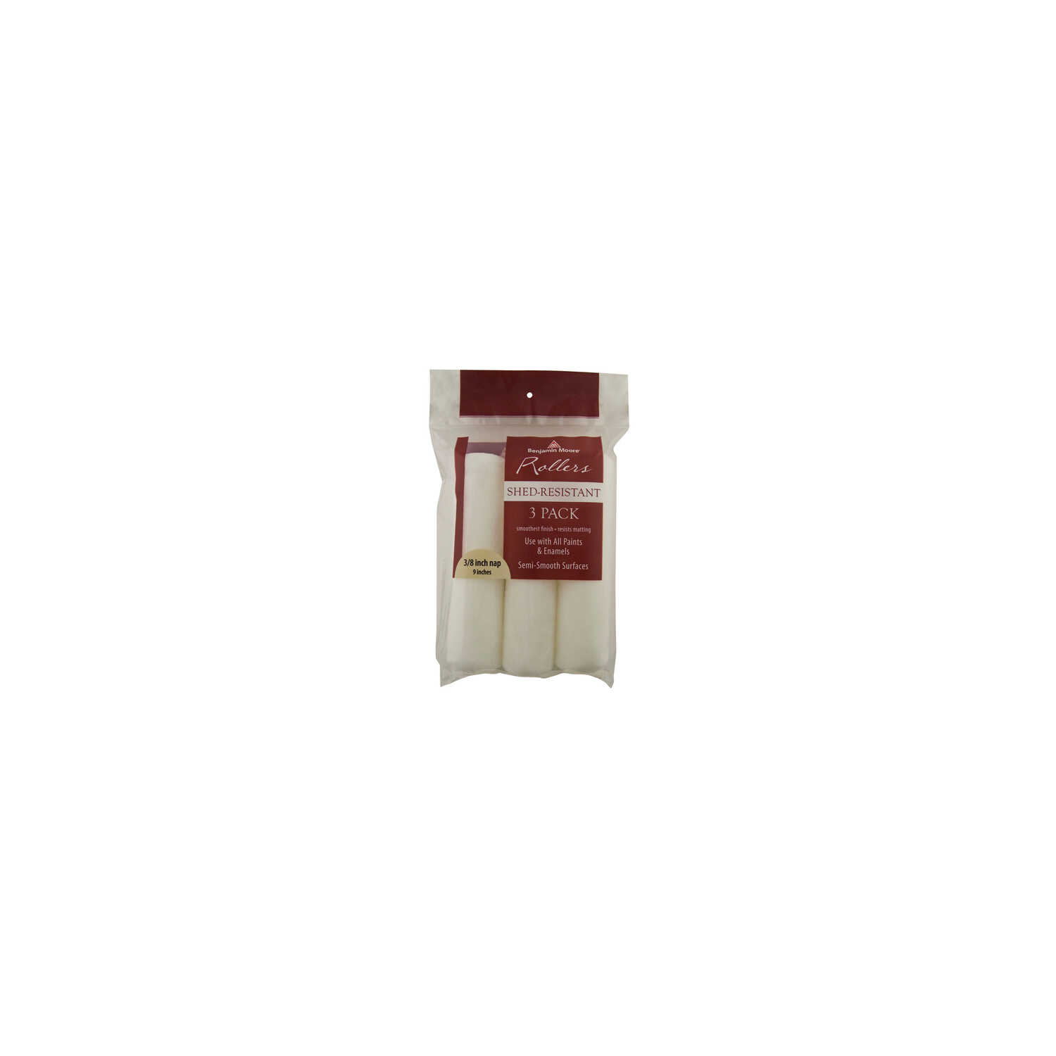 Benjamin Moore  Fabric  3/8 in.  x 9 in. W Paint Roller Cover  3 pk For Semi-Smooth Surfaces