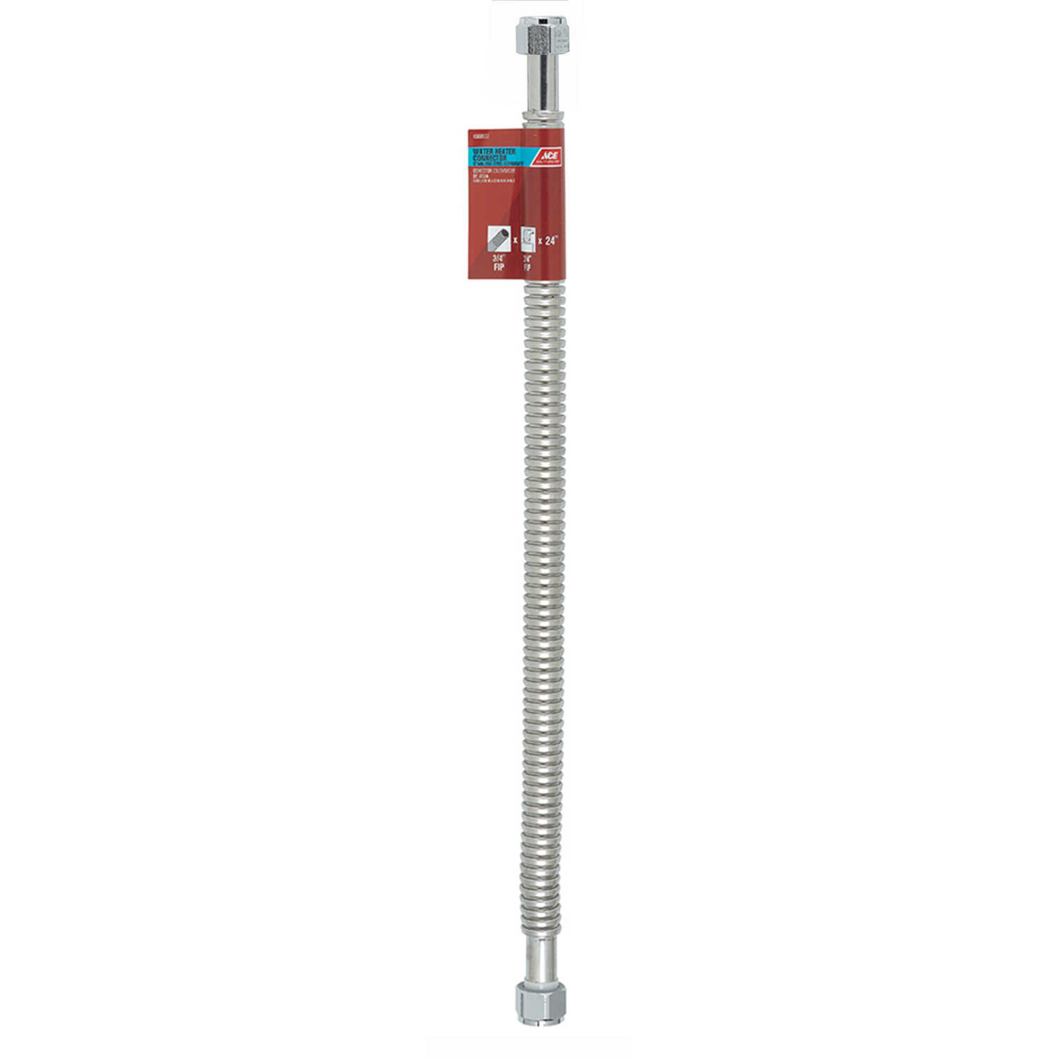 Ace  3/4 in. FIP   x 3/4 in. Dia. FIP  24 in. Corrugated Stainless Steel  Water Heater Supply Line