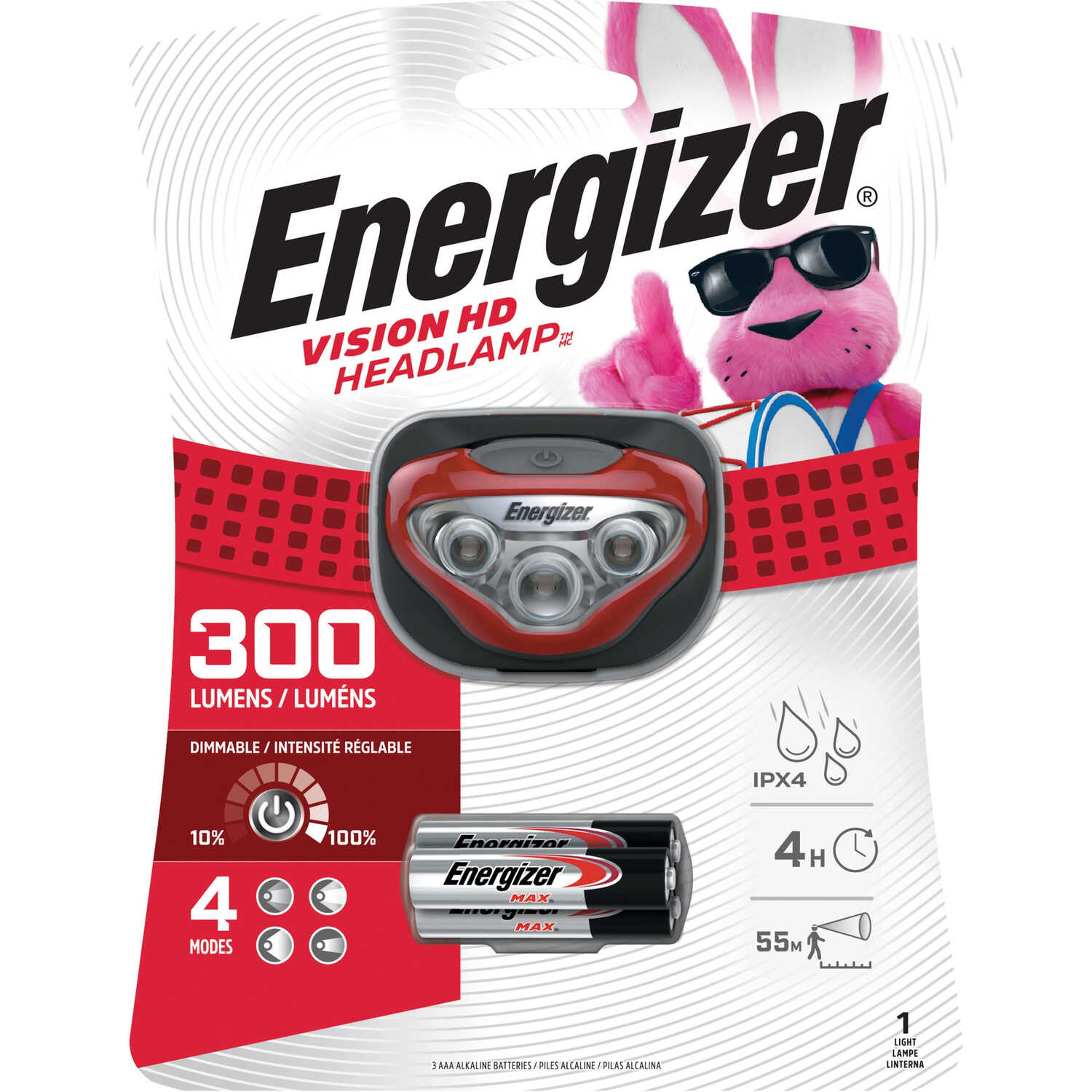 Energizer  300 lumens Red  LED  Headlight  AAA Battery