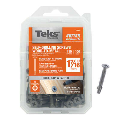 Teks  No. 10   x 1-7/16 in. L Phillips  Flat Head Construction Screws  100 pk