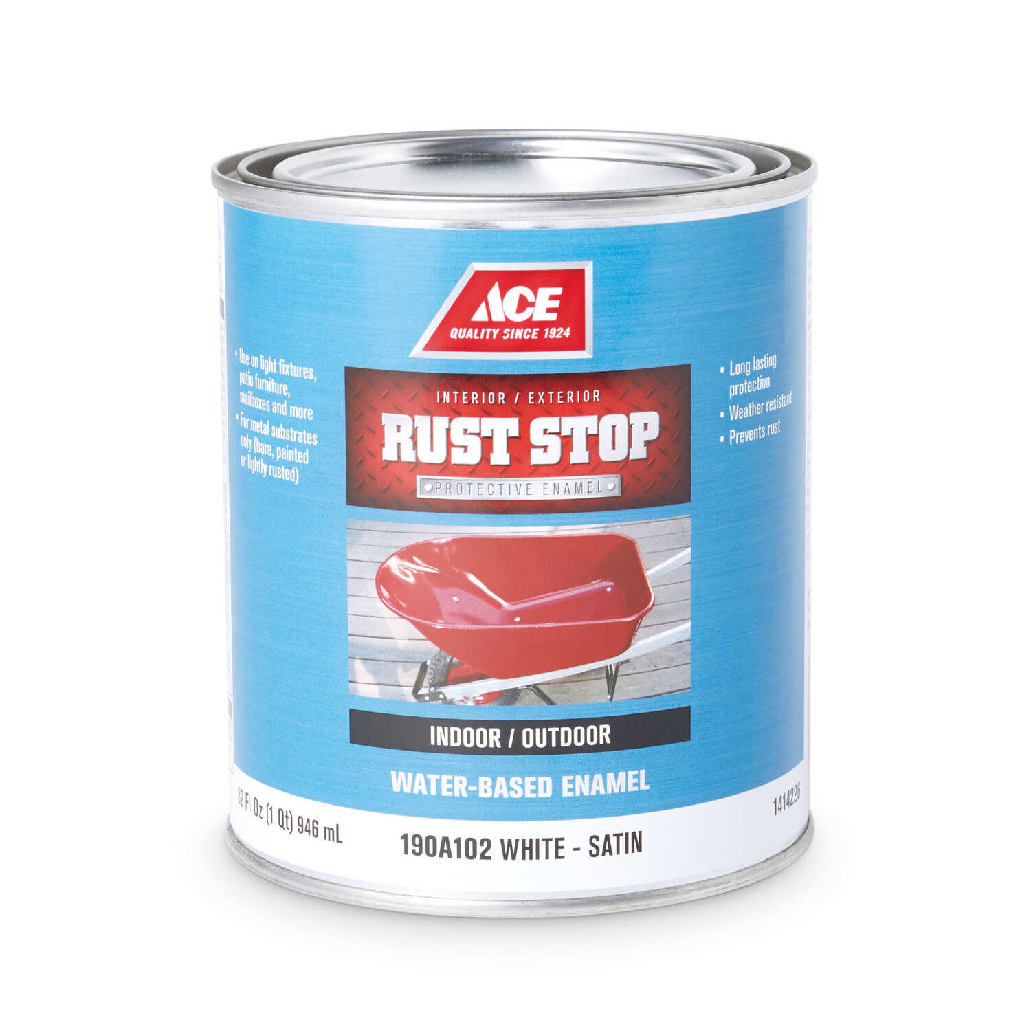 Ace  Rust Stop  Indoor and Outdoor  Satin  White  Rust Prevention Paint  1 qt.