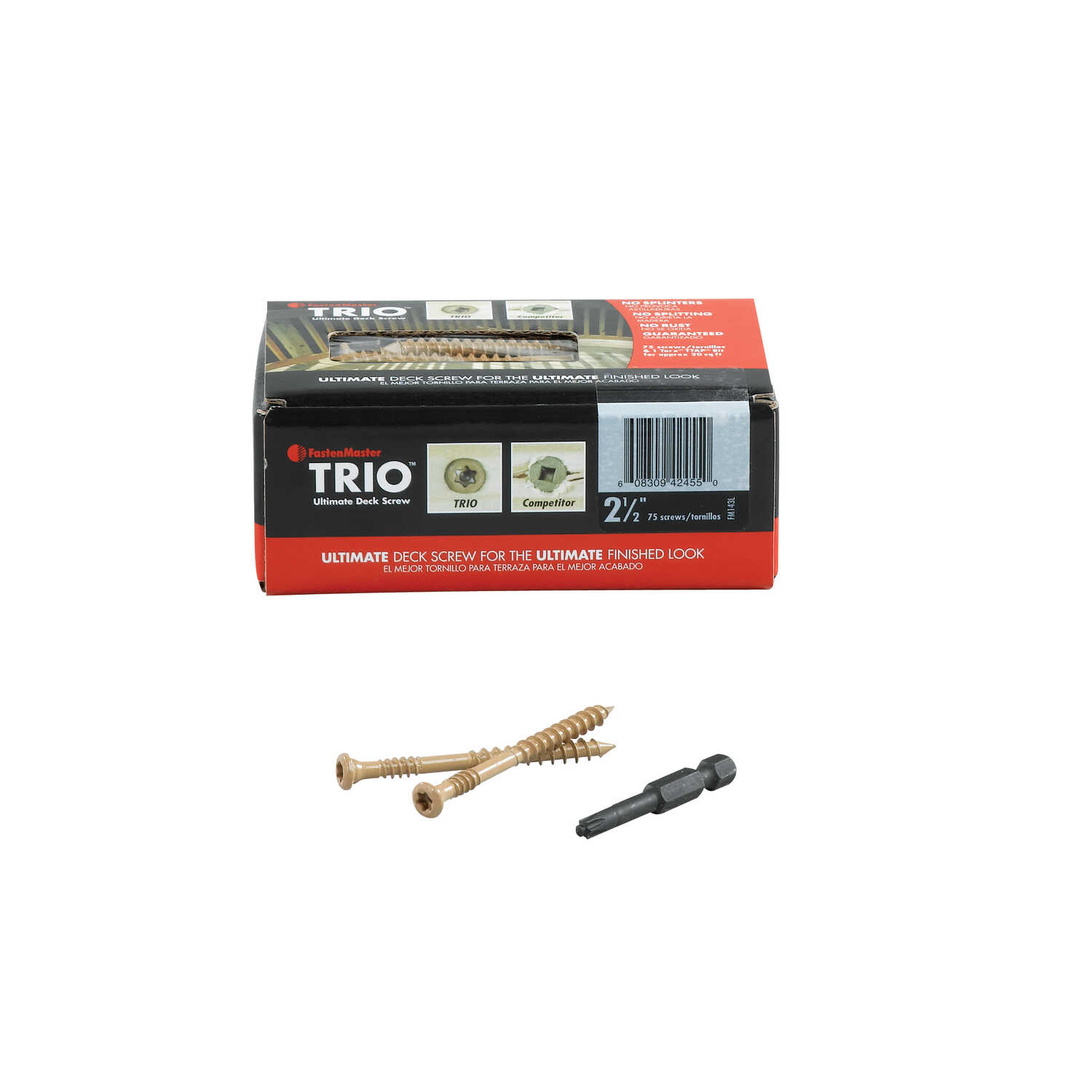 FastenMaster  Trio  No. 10   x 2-1/2 in. L Torx TTAP  Flat Head Epoxy  Carbon Steel  Deck Screws  75