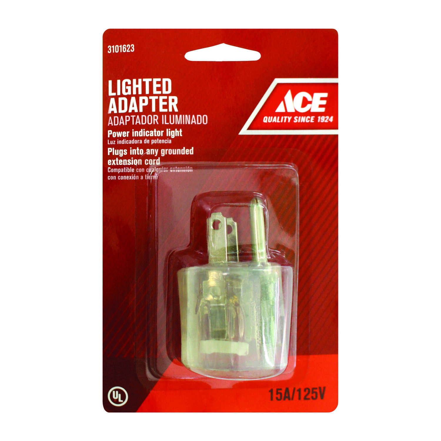 Ace  Grounded  1 outlets Lighted Adapter  1 pk
