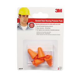 3M 28 dB Polyurethane Foam Band Ear Plugs Orange 2 pair