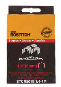Bostitch  PowerCrown  1/4 in. L x 7/16 in. W Steel  Hammer Tacker Staples  1000 pk