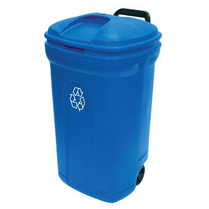 United Solutions  34 gal. Plastic  Wheeled Recycling Bin  Lid Included