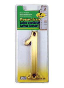 Hy-Ko  4 in. Gold  Brass  Number  1  Nail-On  1 pc.