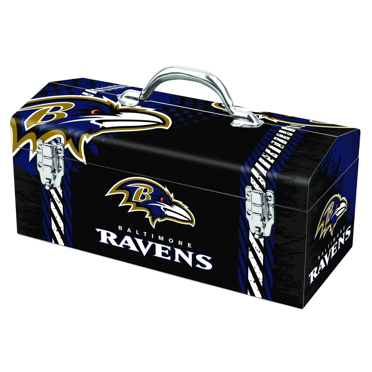 Sainty International  Baltimore Ravens  Steel  Baltimore Ravens  Art Deco Tool Box  7.75 in. H x 7.1