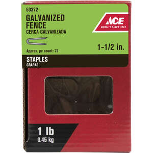 Ace  1-1/2 in. L Galvanized  Fence Staples  1 lb. Steel