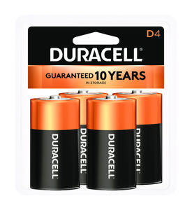 Duracell  Coppertop  D  Alkaline  Batteries  4 pk Carded