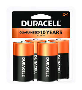 Duracell  Coppertop  D  Alkaline  Batteries  1.5 volts Carded  4 pk