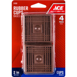 Ace  Rubber  Caster Cup  Brown  Square  2 in. W x 2 in. L 4 pk