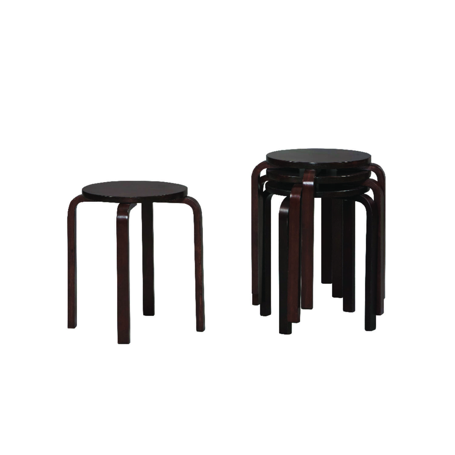 Linon Home Decor  Dark Brown  Contemporary  Bentwood Stool  Wood
