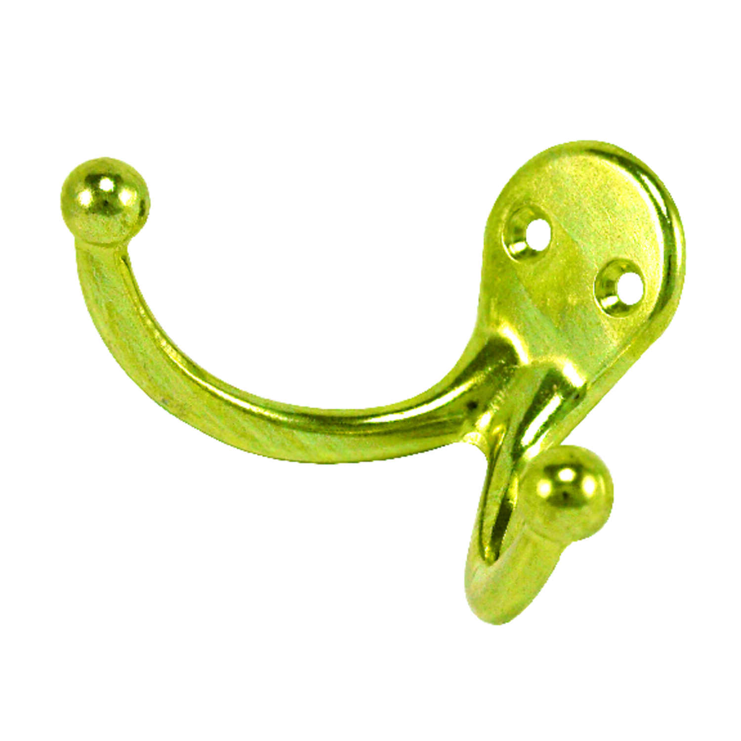 Ace  1-3/4 in. L Bright Brass  Bright Brass  Brass  Small  Double Garment  Hook  2 pk