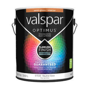 Valspar  Optimus  Semi-Gloss  Tintable  Neutral Base  Acrylic Latex  Paint and Primer  1 gal.