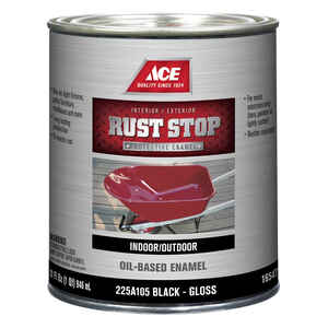 Ace  Rust Stop  Indoor and Outdoor  Gloss  Black  Rust Prevention Paint  1 qt.