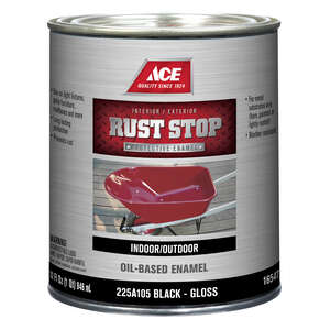 Ace  Rust Stop  Interior/Exterior  Gloss  Black  Rust Prevention Paint  1 qt. Indoor and Outdoor