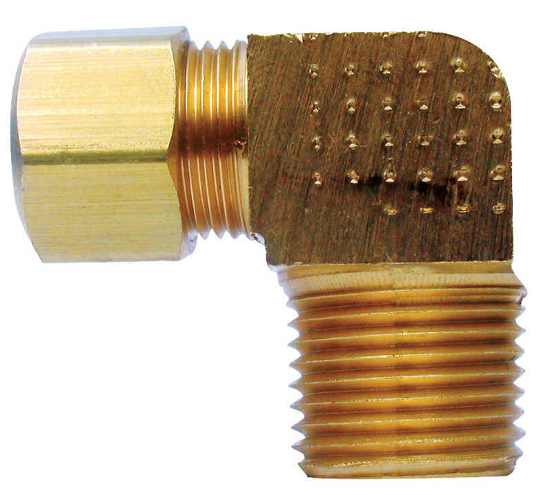 Ace  1/2 in. Dia. x 1/2 in. Dia. Compression To MPT To Compression  Yellow Brass  Elbow