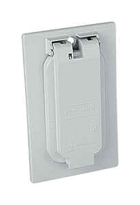 Red Dot  Rectangle  Zinc  1 gang Weather Proof Receptacle Box Cover  For 1 GFCI Receptacle