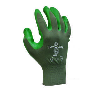 Showa  Unisex  Indoor/Outdoor  Nitrile  Coated  Green  Work Gloves  M