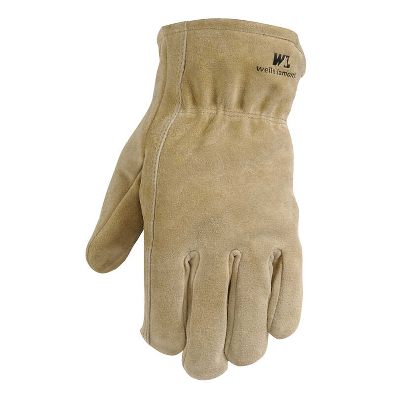 Wells Lamont  L  Suede Cowhide  Heavy Duty  Brown  Gloves