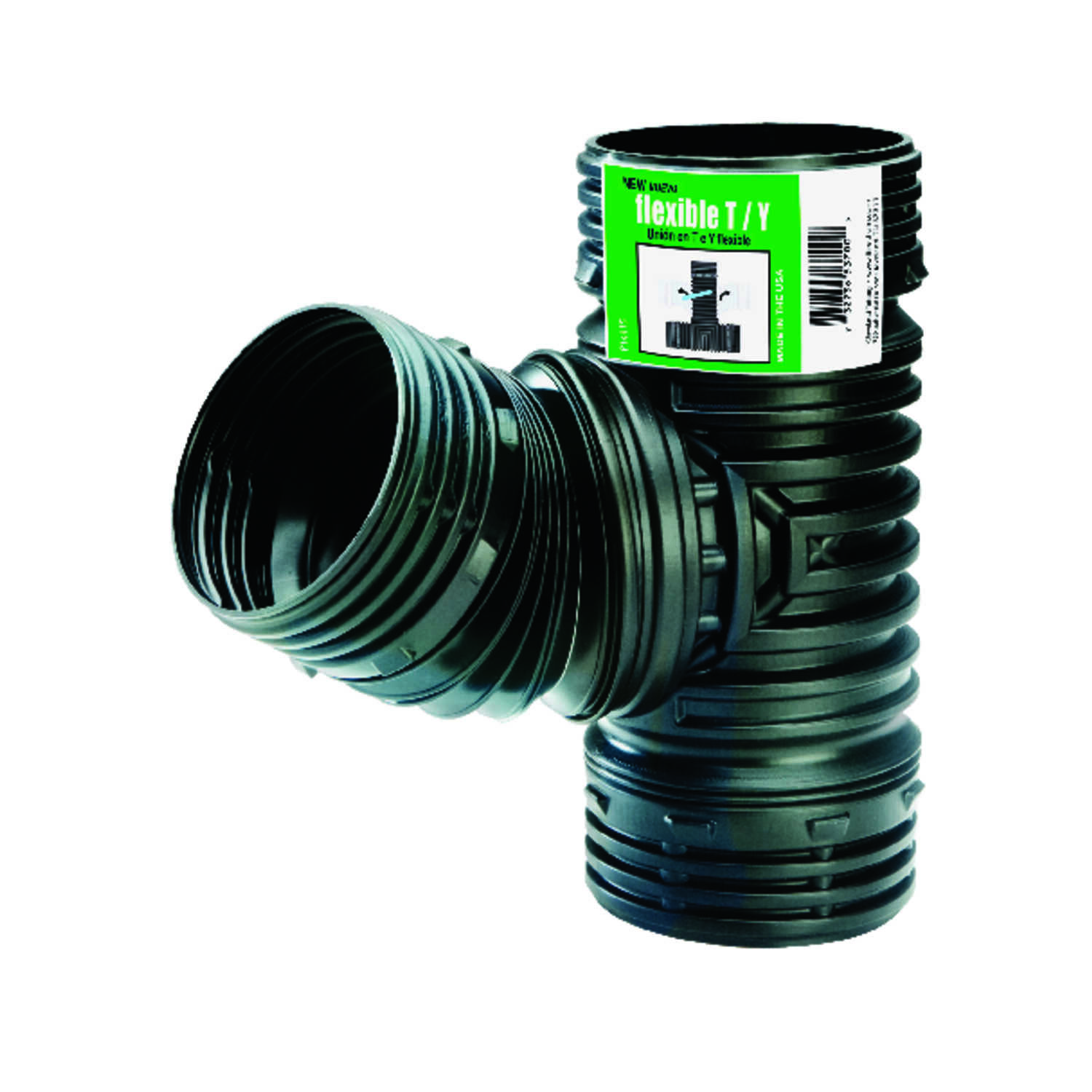 Flex-Drain  4 in. Snap   x 4 in. Dia. Snap  Polypropylene  Combination Tee Wye