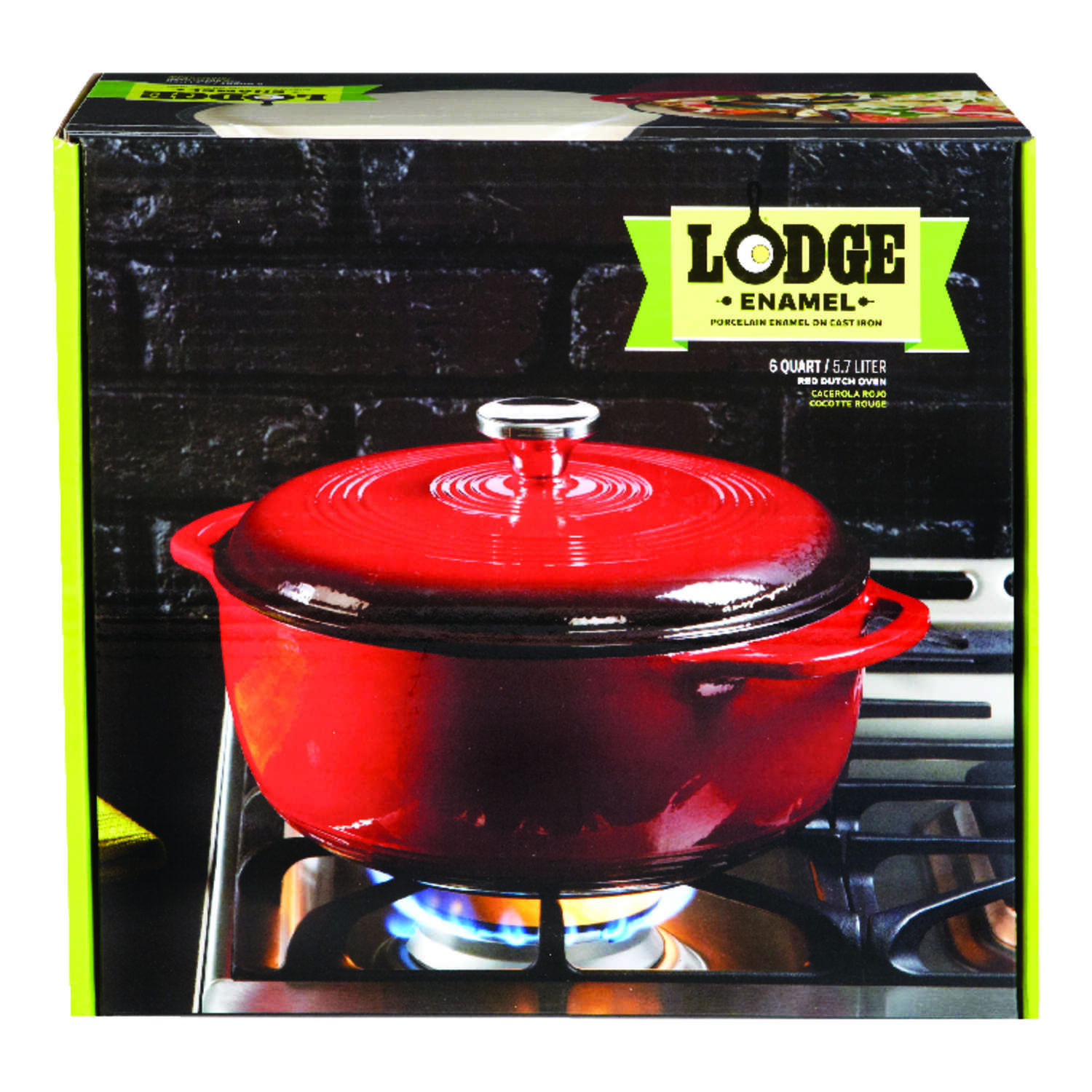 Lodge  Porcelain Enamel  Dutch Oven  10.5 in. 6 Quarts  Red