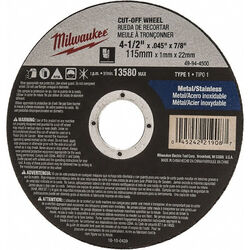 Milwaukee  4-1/2 in. Dia. x 7/8 in.  Aluminum Oxide  Cutting  Cut-Off Wheel  1 pc.