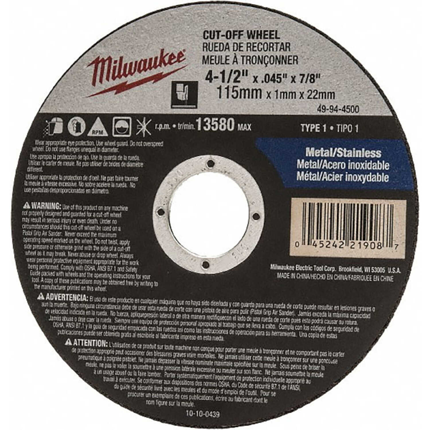 Milwaukee  4-1/2 in. Aluminum Oxide  Cutting  Cut-Off Wheel  0.045 in. thick  x 7/8 in.  1 pc.