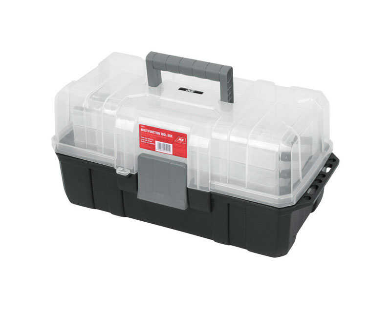Ace  13 in. Plastic  Cantilever Tool Box  9 in. H x 13 in. W Black