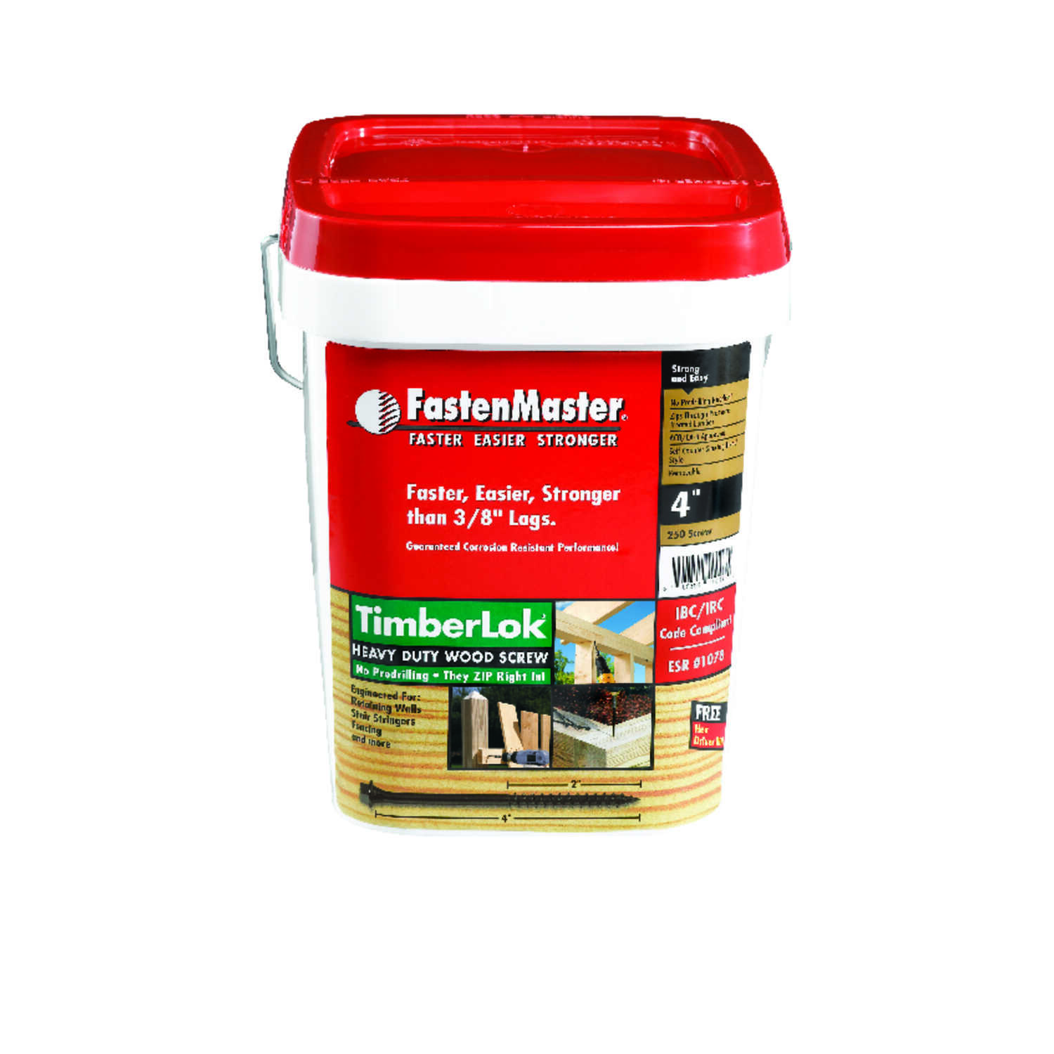 FastenMaster  TimberLok  No. 10   x 4 in. L Hex Head Epoxy  Steel  Wood Screw  250 pk